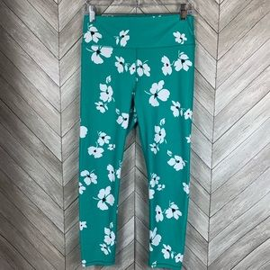 Fabletics teal with white floral yoga pants